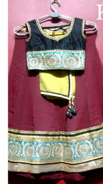 Maroon Lehenga With Contrast Blouse